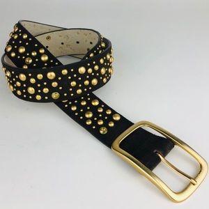 Boho   Brown Leather Gold Studded Belt M